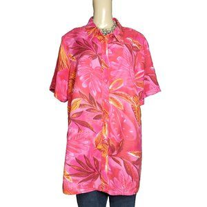AVENUE Pink Hawaiian Shirt